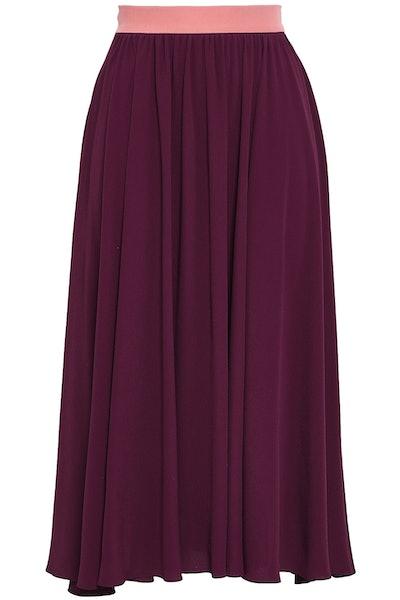 Gathered Crepe Midi Skirt