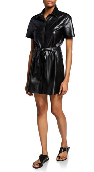 Roberta Vegan Leather Shirt Dress