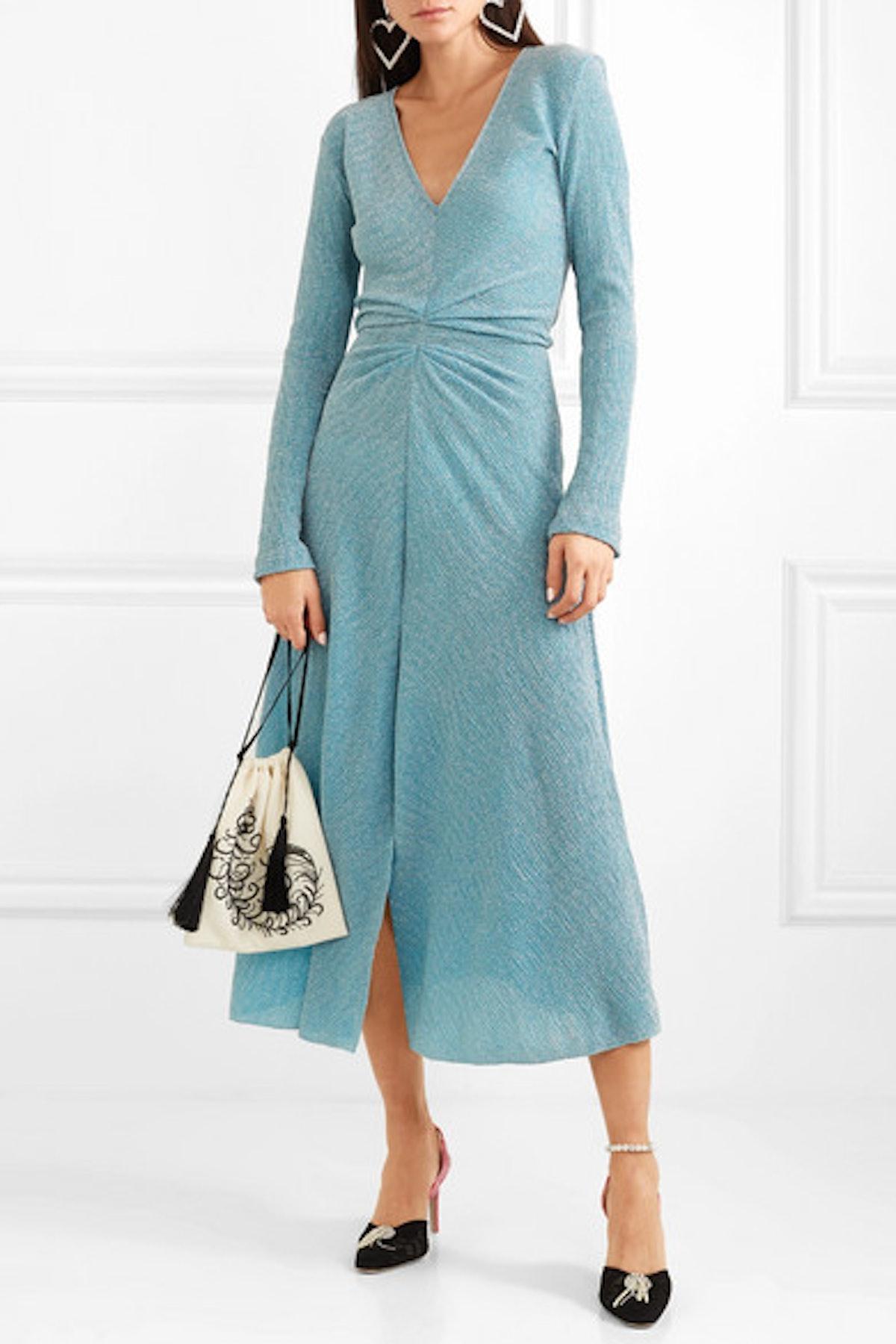 Gathered Metallic Stretch-Knit Midi Dress