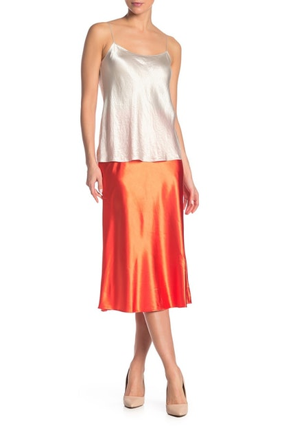 Know One Cares Satin Bias Midi Skirt
