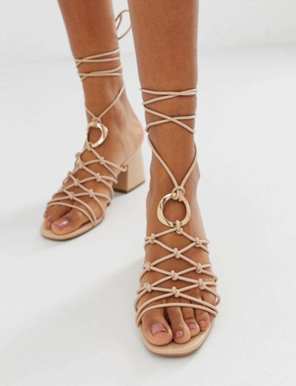 ASOS DESIGN Harvey knotted ring detail sandals