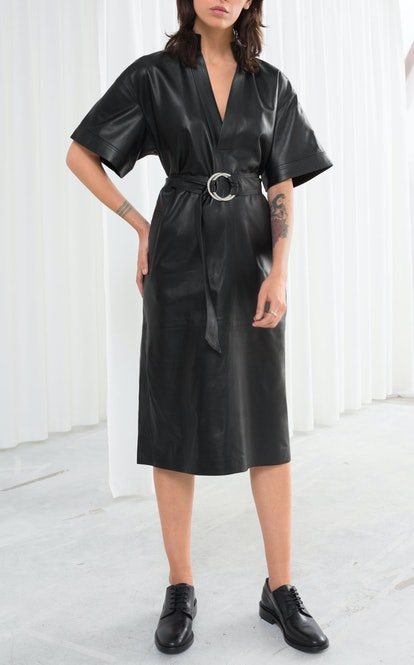 Belted Leather Midi Dress