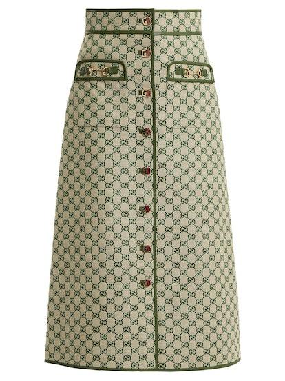 GG Logo Cotton-Blend Skirt