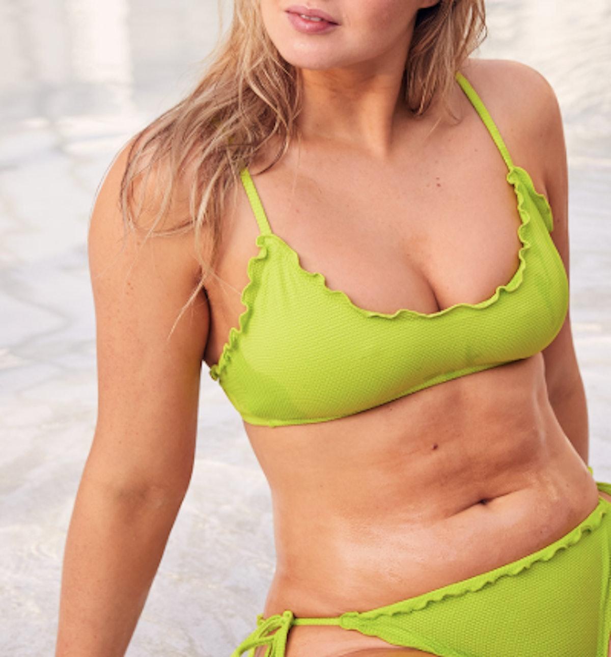 Pique Ruffled Scoop Bikini Top