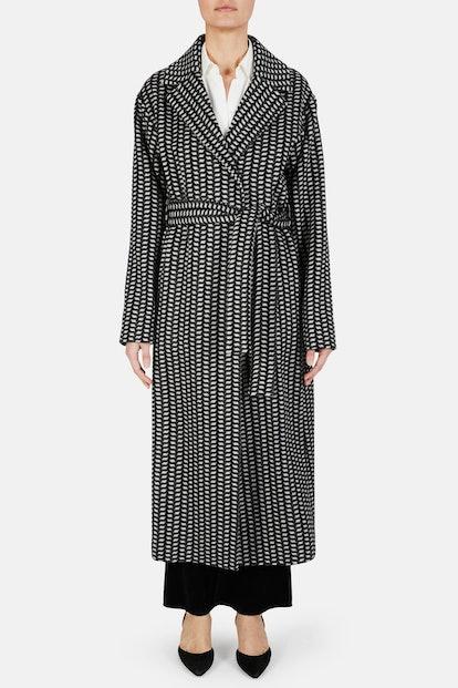 Jiminez Poncho Print Cashmere Coat