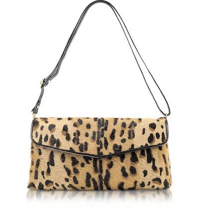 Calfhair Leopard Print Shoulder Bag