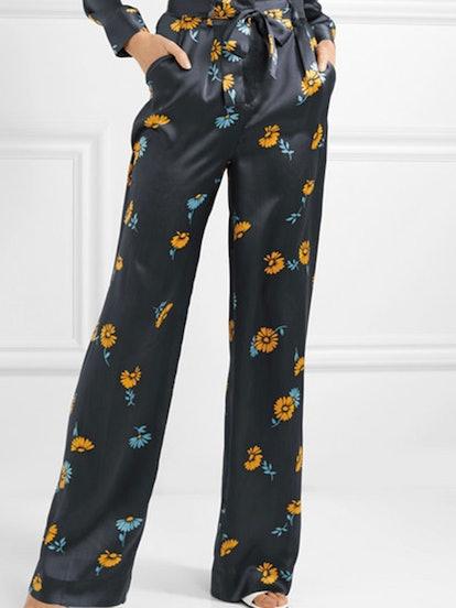 Evonne Belted Floral-Print Silk-Satin Wide-Leg Pants
