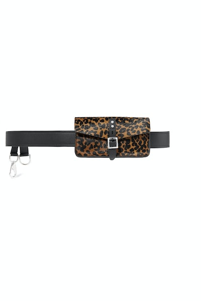 Dwight Leopard-Print Calf Hair And Leather Belt Bag