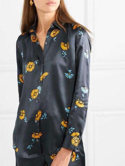 Essential Floral-Print Silk-Satin Shirt