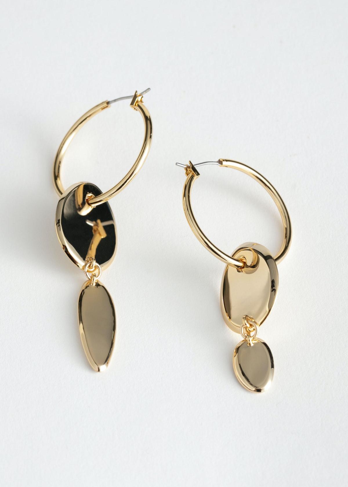 Duo Pendant Hoop Earrings