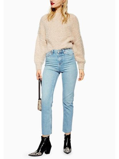 Authentic Raw Hem Straight Leg Jeans