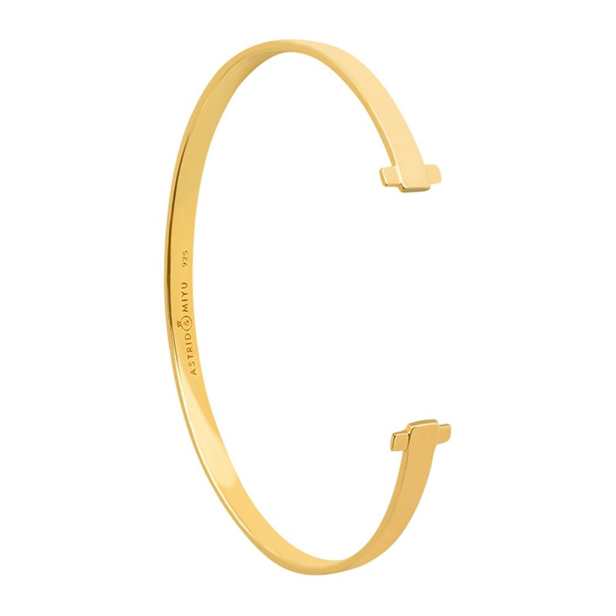 Crossing Lines Locking Bangle in Gold