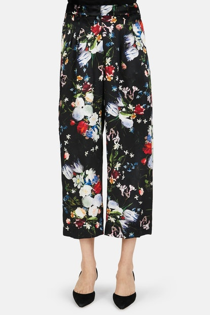 Hillary Silk Satin Cropped Trouser