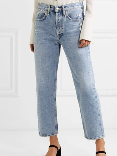Parker Distressed Cropped Mid-Rise Straight-Leg Jeans