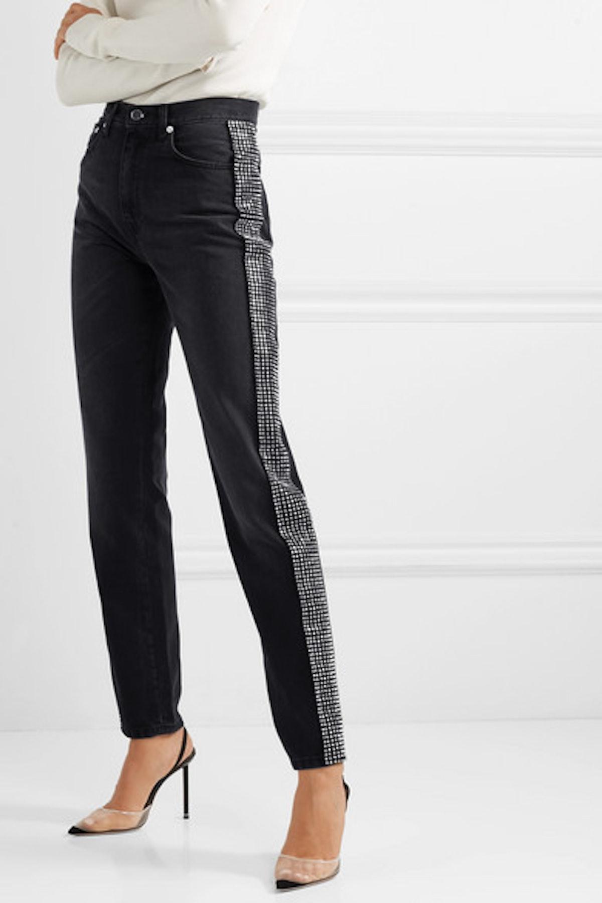Crystal-Embellished High-Rise Jeans