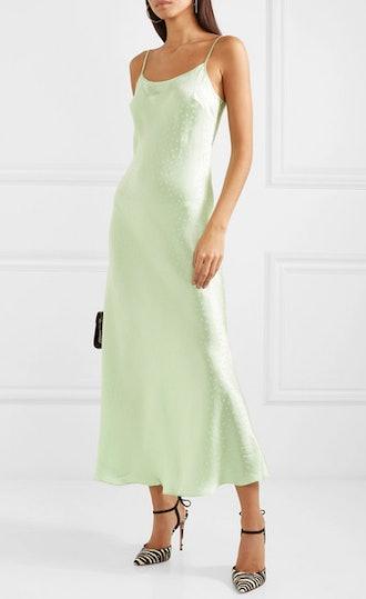 Holly Polka-Dot Silk-Charmeuse Jacquard Dress