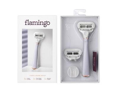 Flamingo Women's 5-blade Razor with Replacement Blade Cartridge - Taro