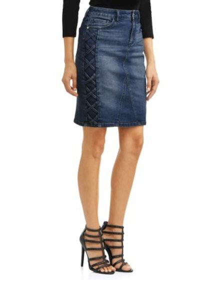 Margarita Side Laced Stretch Denim Pencil Skirt