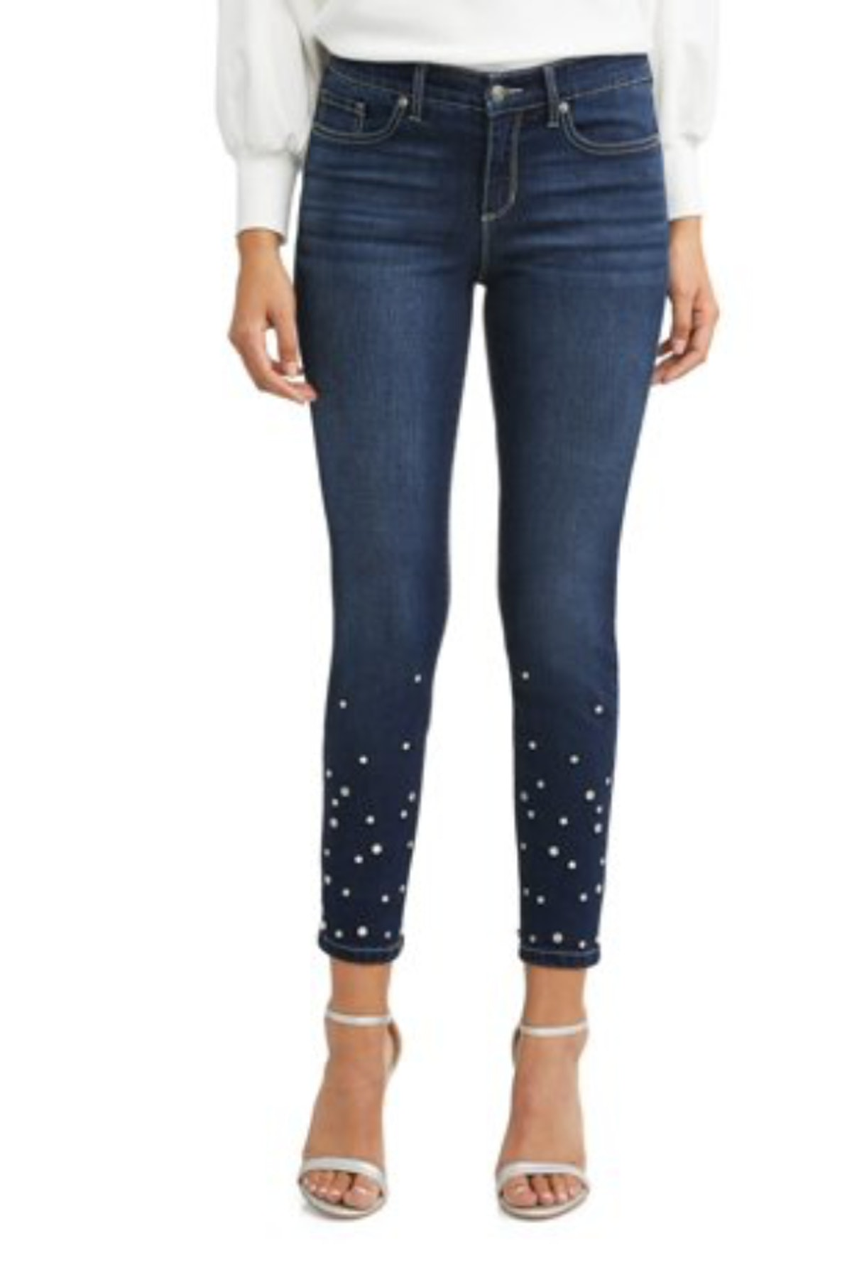 Sofía Skinny Studded Mid Rise Stretch Ankle Jean