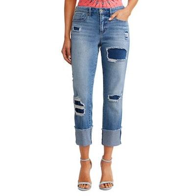 Veronica Destructed Cuffed Straight High Waist Jean