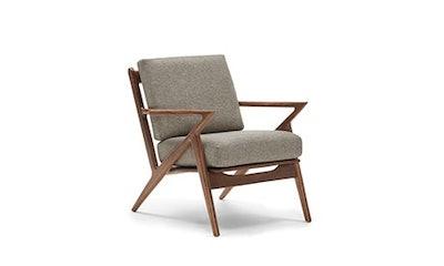 Soto Chair, Taylor Felt Grey and Walnut Wood