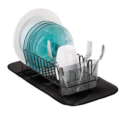 mDesign Metal Dish Drying Rack And Microfiber Mat Set