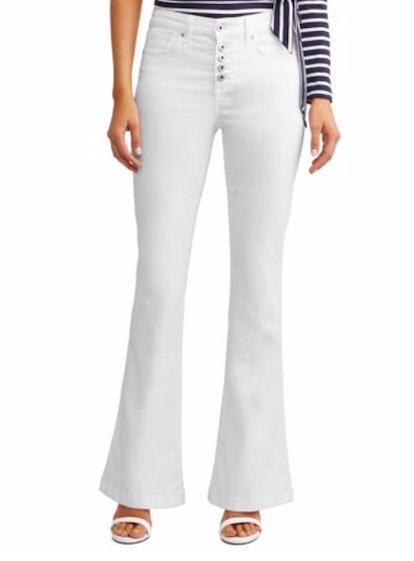 Melisa High Waist Stretch Flare Jean in White