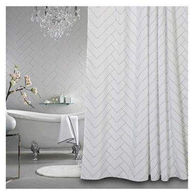 Aimjerry White Patterned Shower Curtain