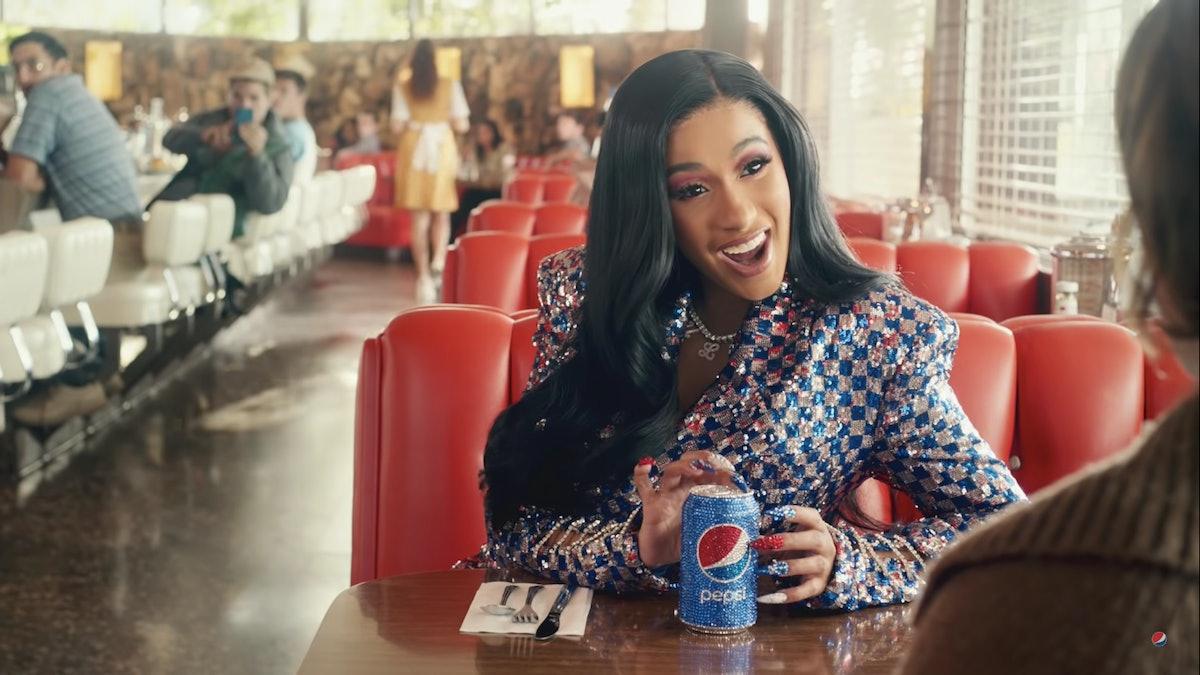 Cardi B's Super Bowl Pepsi Ad Nails Had Nearly 500 Swarovski Crystals On Them