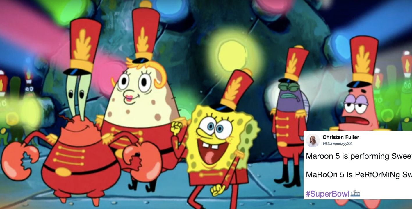 Tweets about the spongebob cameo at the super bowl halftime show