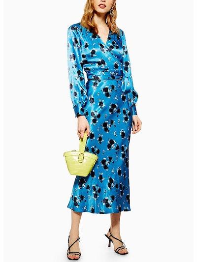 Rose Satin Blouse and Midi Skirt Set