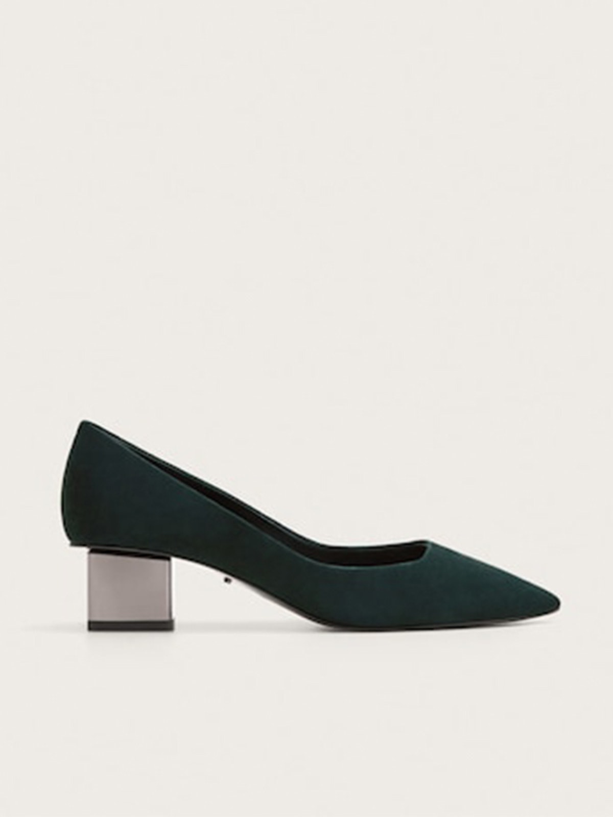 Leather Metallic Heel Shoes