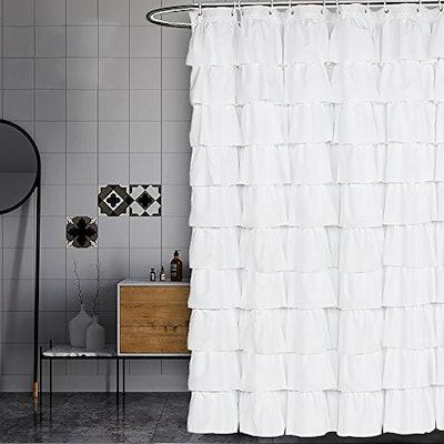 Volens White Ruffled Shower Curtain