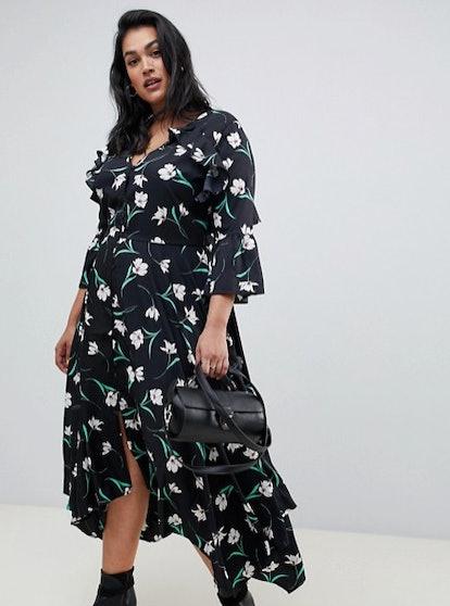 Asymmetric Floral Midi Tea Dress