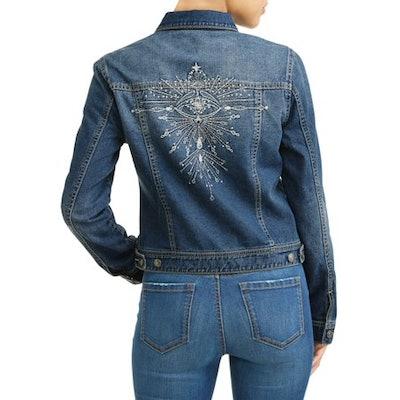 Angela Embroidered Evil Eye Denim Jacket Women's