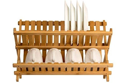Sagler Collapsible Bamboo Dish Drainer