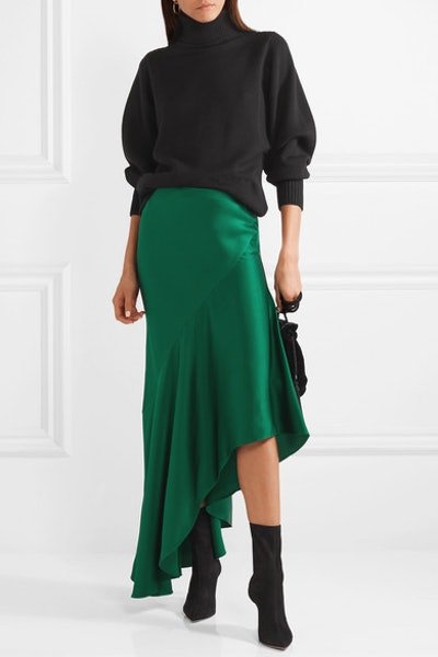 Asymmetric Satin-Crepe Midi Skirt