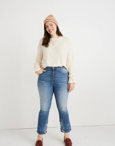 Cali Demi-Boot Button-Front Jeans