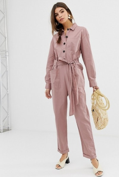 ASOS DESIGN boilersuit with button front and waist detail