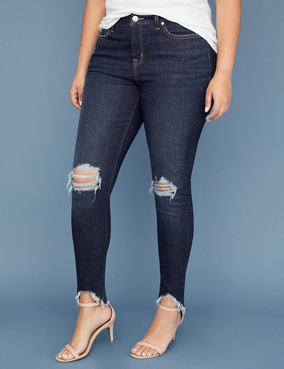 Super-Stretch Chewed Hem Skinny Jean