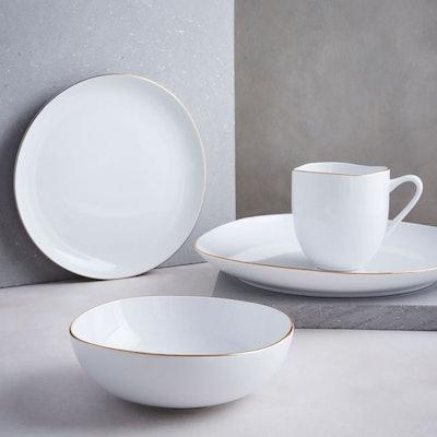 Organic Shaped Dinnerware Set - Metallic Rimmed