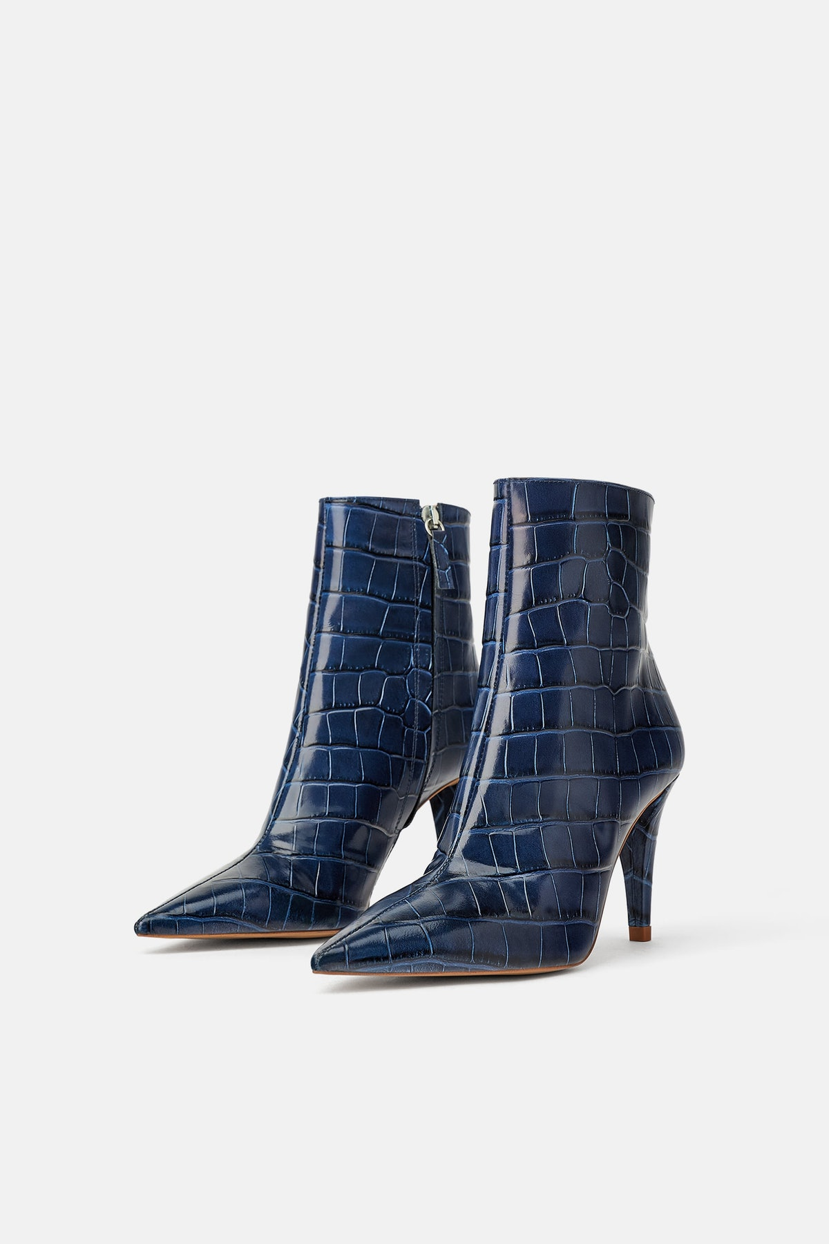 SNAKESKIN PRINT HEELED LEATHER ANKLE BOOTS