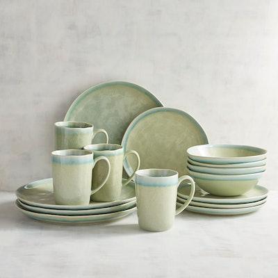 Speckled Green Reactive 16-Piece Dinnerware Set