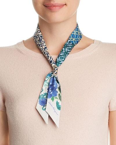 Floral Print Silk Skinny Scarf