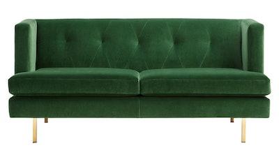 Avec Emerald Green Apartment Sofa With Brass Legs