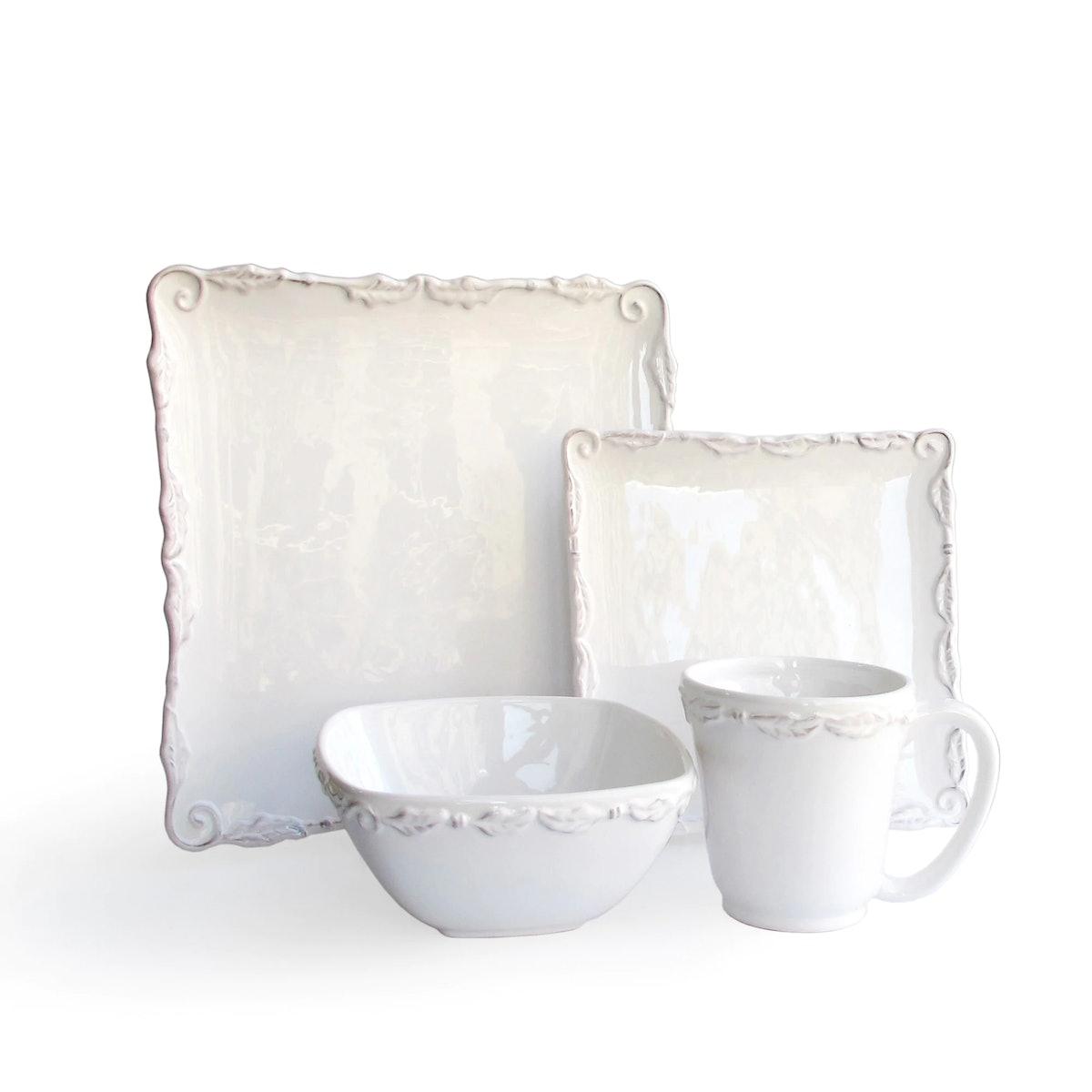 American Atelier Bianca Wave White 16-piece Dinner Set