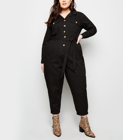 New Look Curves Black Pocket Front Button Through Jumpsuit