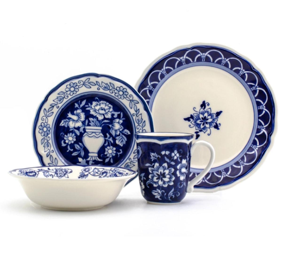 16pc Stoneware Blue Garden Dinnerware Set Blue/White