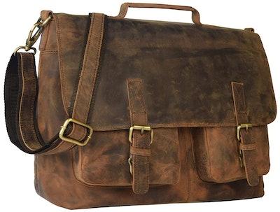"""18"""" Leather Messenger Bag"""