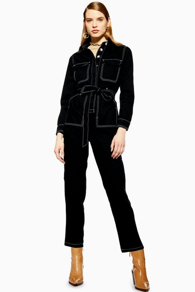 Topshop Black Denim Boiler Suit
